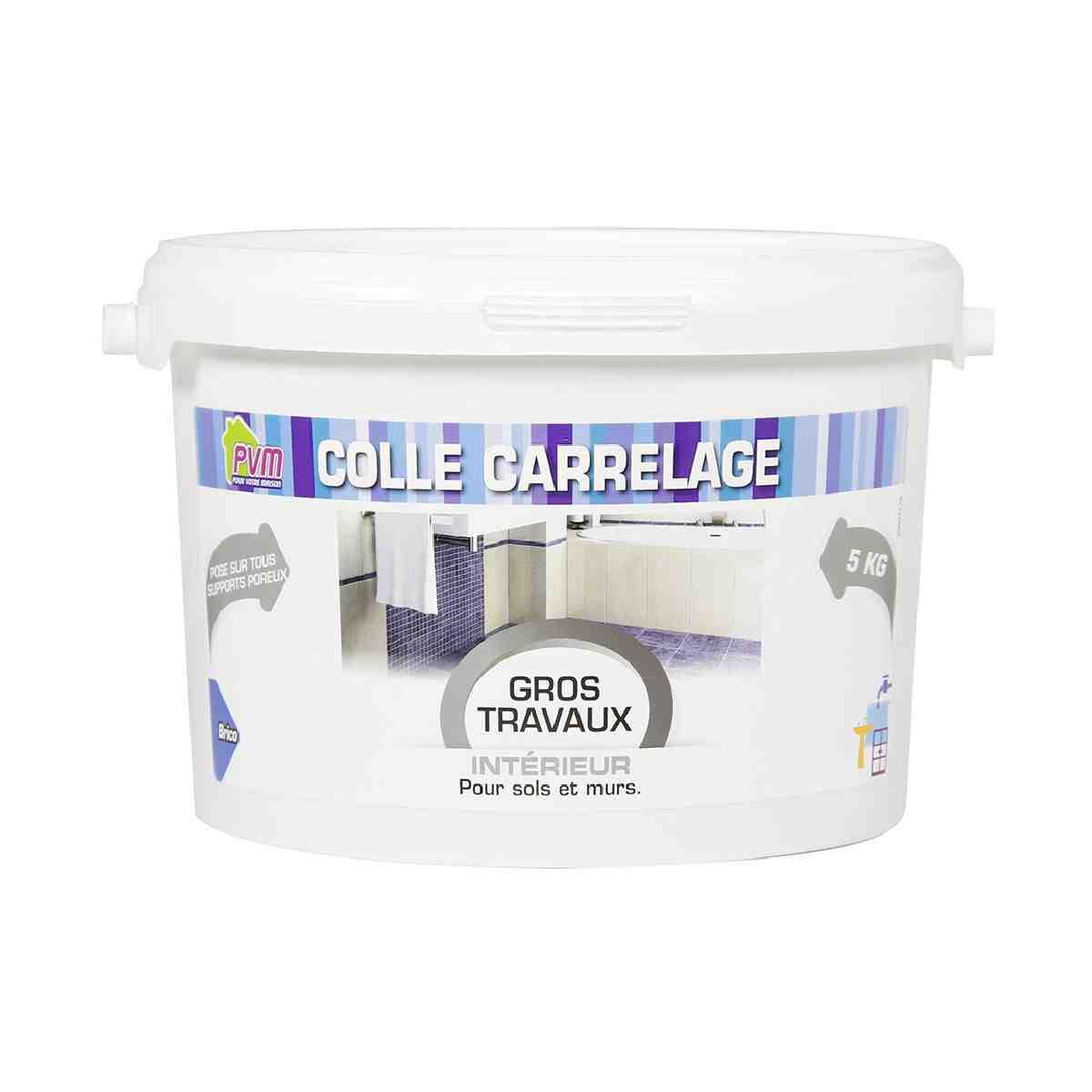 Colle carrelage sur sol et mur pvm seau plastique 5 kg for Colle pour coller carrelage sur carrelage