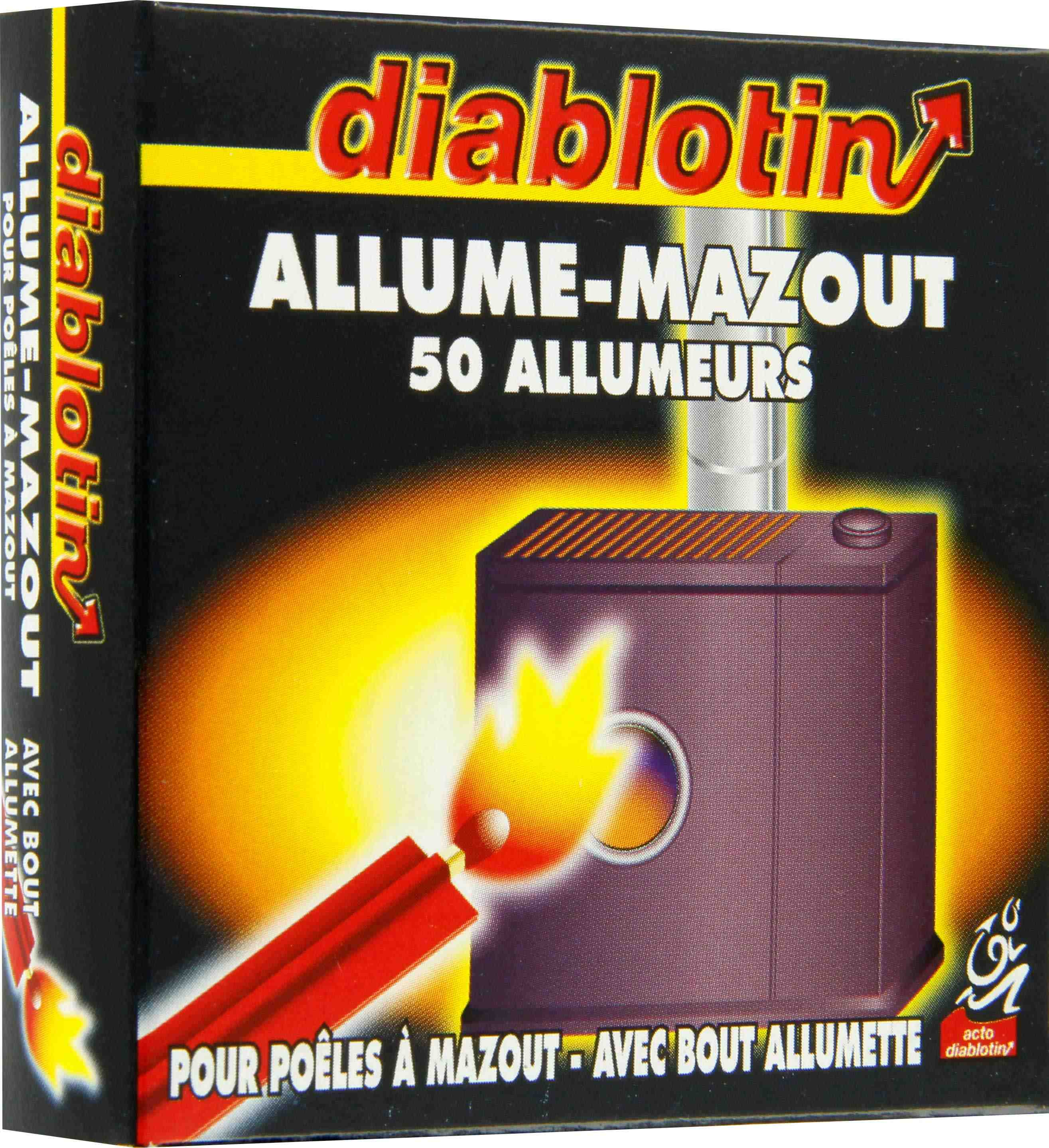 allume mazout avec bout allumette diablotin vendu par 50 de allume mazout. Black Bedroom Furniture Sets. Home Design Ideas