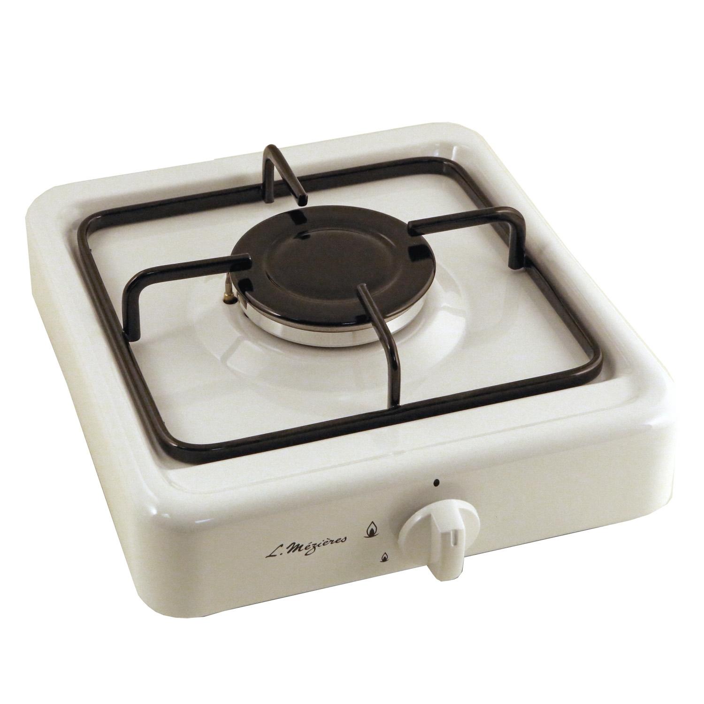 Platine de cuisson gaz 1 feu l m zi res 2700 w blanc - Table de cuisson gaz blanc ...