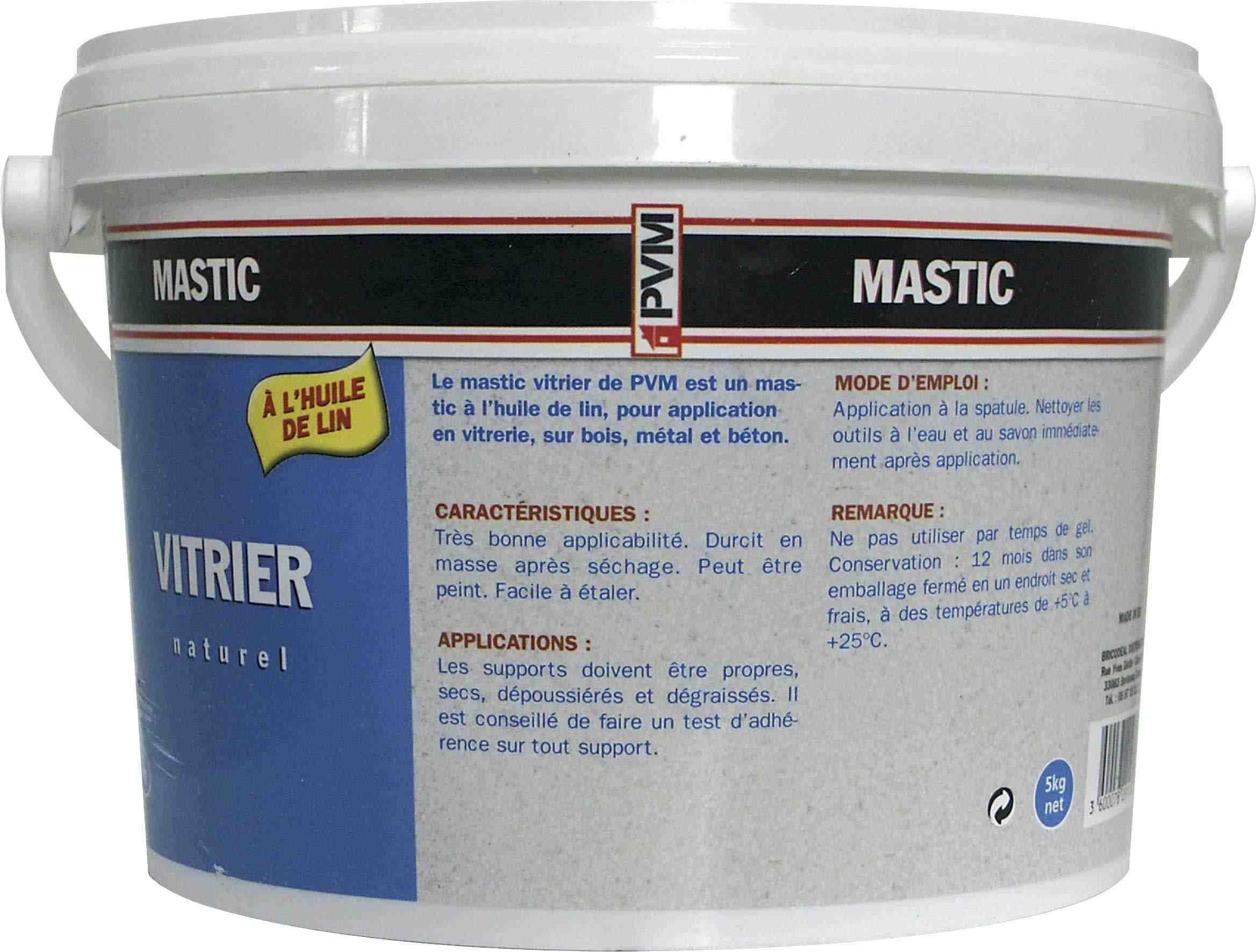 mastic vitrier pvm naturel pot 5 kg de mastic vitrier. Black Bedroom Furniture Sets. Home Design Ideas