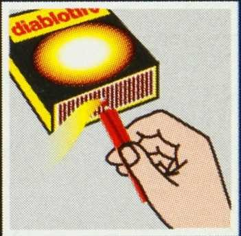 Ouvrir l'arrivée du mazout. Enflammer l'allumeur à l'aide du grattoir de la boîte.